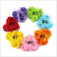Cheap Handmade Rose Flowers Soap Soap Craft Soap Flower valentine's day gift 6pcs lot A Nice Box Wedding Gift 0608003