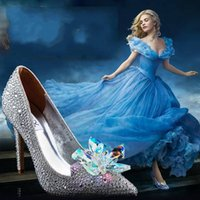 wedding party slippers - Cinderella Movie The Glass Slipper Princess Crystal Shoes For Wedding Party Evening Prom Bling Shoes Cheap