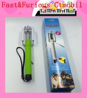 Wholesale mini Wired Selfie Stick Handheld Monopod Built in Shutter Extendable foldable Holder For iPhone plus Samsung s7 s6 note htc lg