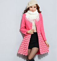 Cheap Free Shipping-SG688-2014 Slim Lace Wool Blends Winter Coat women Manteau Femme