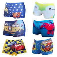 Wholesale children swimming shorts Children swimming trunks Boys swimwear Kids beach pants Minions spiderman Swimwear cartoon kids swim pants D262
