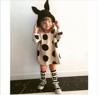 baby embroidered t shirts - 2016 New Arrival Lovely Girls Dress Kids Polka Dots Long Sleeve T shirt Dresses Children Clothing Baby Girl Cotton Dress cm