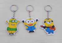 Wholesale Despicable Me key chain movie theme cartoon key rings Minions pendants keyring holders fashion charms jewelry Christmas gift drop shipping