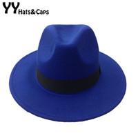 Prezzi Wool hat-Maschile di lana di feltro Snap Brim Hat Trilby donne Vintage lana Panama Fedora Cloche Cap Lana Feltro Jazz cappelli 14 colori YY0397