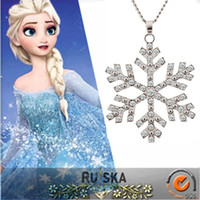 Wholesale Frozen Anime Snowflake Pendant Necklace Girls Fashion Diamond Jewelry Best Friends Gifts Fantasias Infantis Color Cheap Costume jewelrys