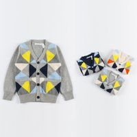 baby cardigan - New Arrival Babies Boys Girls Plaid Patchwork Knitting Crochet Cardigans Sweaters Tops Jacket Candy Color Cute Children Christmas Outwears