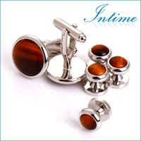 Wholesale High quality Tiger Eyes Cuff links sets Tuxedo Studs For men