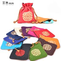 Jewelry Pouches,Bags Red Ring High End Drawstring Linen Decorative Small Candy Bags Embroidered Lucky Chinese style Gift Packaging Pouch with Lined 10pcs lot mix color