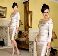 Wholesale 2015 Champagne Mother of Groom Dresses With Long Sleeves Sexy Portrait Knee Length Satin High Quality Formal Mother Dress Custom Made