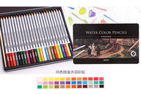 Wholesale 24 lapis de cor profissional colored pencils watercolor pencils lead water soluble color pen free ship