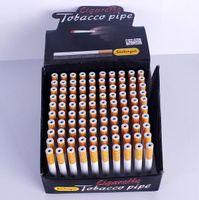 wholesale designer lots - 100 mm Cigarette Shape Smoking Pipes Mini Cheap Portable Designer Tobacco Pipes Snuff tube Aluminum Smoking Accessories