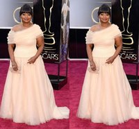 Wholesale Red Carpet Coral Celebrity Dress Octavia Spencer in th Oscar Gowns Plus Size Sweep Train Evening Formal Party Dresses Cheap Wq06