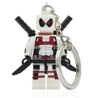 Wholesale XINH Super Heroes White Deadpool Minifigures Keychain For Keys Custom Ring DIY Handmade Key Chain Building Block Toys