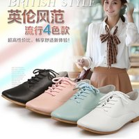 Wholesale Big Girls Casual Shoes Spring Ladies Fashion Womens Ladies Retro Lace Up Shoes Vintage Shoes Korean Brogue Flat Oxford J3458