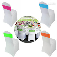 Cheap 10Pcs lot Multi-color Lycra Chair Bands Sash Spandex Stretch Cover for Wedding Party Hotel Banquet Chair Decoration CBN-1