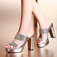 high heel open toe shoes - Thick High Heel Rhinestone Open The Toe Chunky Heel Slippers Lady Fashion Sexy Women Sandals Peep Toe Summer Shoes SXQ0516