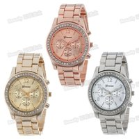 Wholesale GENEVA Geneva steel watch foreign trade explosion of fake three watches factory source low cost hot sales