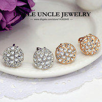 Wholesale Classic K Rose Gold Plated Sparkly Rhinestones Fully Setting Half Round Circle Style Lady Stud Earrings Colors krgp