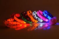 Wholesale 30pcs Fedex mix order CM wideth Size Camouflage pattern LED dog collars LED pet Flashing safety collars Nylon Leashes