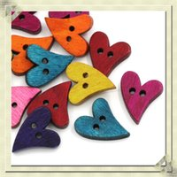 Wholesale Wood Sewing Buttons Scrapbooking Heart Love Holes Mixed quot x quot