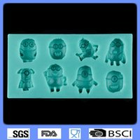 Wholesale DHL Despicable Me Minion Chocolate Molds Lovely Cartoon Fondant Silicone Molds Bake Tools Cake Decorating Tools Kitchen Accessories Moulds