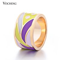 art nouveau jewelry - mm Wide Stainless Steel K Gold Plated Jewelry Art Nouveau Enamel Ring VR Vocheng Jewelry
