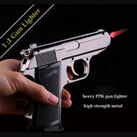 Wholesale Windproof Metal Model PPK Pistol Gun Shaped Refillable Butane Gas Flame Jet Smoking Cigarette Cigar Lighters