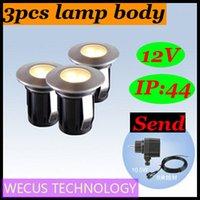 Al por mayor (WECUS) envío libre, 100% auténtico original, el enchufe del jardín del LED en la luz, luces al aire libre a prueba de agua enterradas, 3pcs cuerpo de la lámpara, XJ-HWD0051