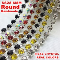 Wholesale 10yards mm ss Real Color Round Crystal Rhinestone Cup Chain Silver Base For Wedding Dress Decoratio