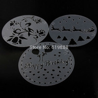 Wholesale Cake Decorating Stencils Printing Mold Screen Decoration Template for Happy Birthday Christmas Cookie Stamps set diam cm