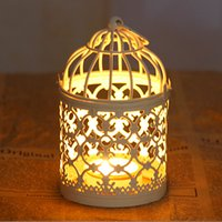 art bird cage - zakka White Birdcage Candle Holders Wedding Decoration Metal Iron Candlestick Lantern Wedding Bird Cages Candelabra Candle Favors