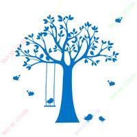 baby tree swings - 2016 New Baby Nursery Tree Wall Sticker Swing Birds Tree Wall Decals for Kids s Room DIY Tree Wallpaper Children Wall Decors