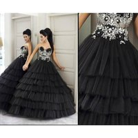 Cheap 2016 Arabic Quinceanera Dresses Black Ball Gown Tulle Tiered 3D Flora Appliqued Lace Beads Floor Length sweet 15 Party Wedding Dress 2015