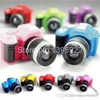 Wholesale Mini Colorful SLR Camera Toy Keychain Flash Torch Charm Keyring Ornament Decor A5