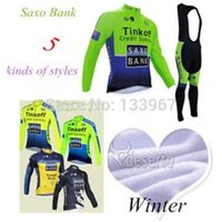 Wholesale 2015 Saxo Bank Fluorescent Winter thermal fleece cycling jersey long sleeve and cycling bib pants
