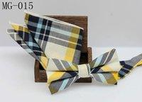 Wholesale 47 colors plaid cotton bowtie pocket square sets men s suit leisure bowtie