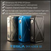 Original Tesla Invader III Caja 240W LED Display Fit 18650 Batería Varios colores Box Vaporizador Fit 510 Sub-ohm DHL Free