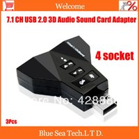Wholesale box packed Hot Sale USB Virtual Channel Sound Card Double Adapter MIC SPEAKER