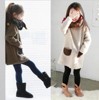 no brand berber fleece pullover - Girls Base All match Solid Dot Pocket Berber Fleece Pullover Winter Casual Outcoat Top Kids Clothes Colors D0085