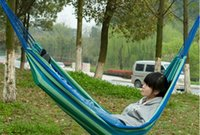 Cheap 50PCS HHA633 Cotton Camping hammock swing outdoor thickening canvas hammock casual single double bearing Hot Sell