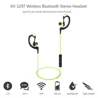 Wholesale KV Wireless Bluetooth Stereo Headset BT EDR Sport In ear Earphone Outdoor Sport Hands free Call Voice Prompt Headphone order lt no