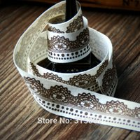 Wholesale Brown lace Print Cotton Ribbon for gift wrap hair bows hair accessories m