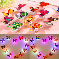 Wholesale Colorful Fiber Optic LED Butterfly Nightlight W LED Butterfly For Wedding Room Night Light Party Decoration Wall Lights