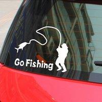 Wholesale Cartoon Go Fishing Car Sticker Waterproof Night Reflective Car Body Window Decal Sticker Covers Black White