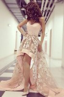 Real Photos high low prom dresses - Sweet Pink Myriam Fares Prom Dresses Strapless High Low Appliques Sweep Train Formal Party Dresses Celebrity Evening Gowns