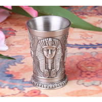 Wholesale Hot Zinc alloy Egyptian pharaoh Blackjack Sculpture Wineglass D Engrave Vivid Indian chiefs Cup Creative House Decoration