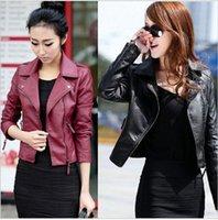 Wholesale Jaqueta De Couro Feminina Autumn Winter Ladies Motorcycle Jackets Coat Elastic PU Zipper Soft Slim Leather Jacket Women