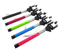 Cheap Monopods Wired Control Button Monopod Extendable Handheld Selfie Stick + Cell Phone Clip Holder universal For iPhone Samsung android A-501