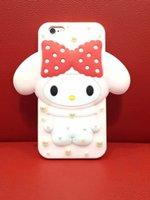 achat en gros de bonjour lapin-Étui de mode pour iphone6 6s 6 / 6splus, mignon rose 3D Melody Hello Kitty Rabbit Bunny Cartoon Bowknot Diamant Back Cover Case