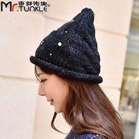 Wholesale Knit Hats Beads - Wholesale-DG1819 beads knitted hat lady coarse wire wool hat twist warm steeple